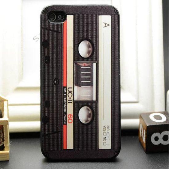 Coque de protection IPHONE 4 4S trompe l'oeil cassette audio OLD ...