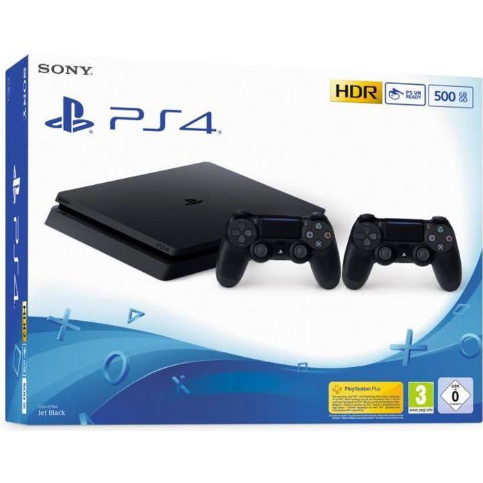 CONSOLE PS4 Console PS4 Slim 500Go Noire/Jet Black + 2ème Mane