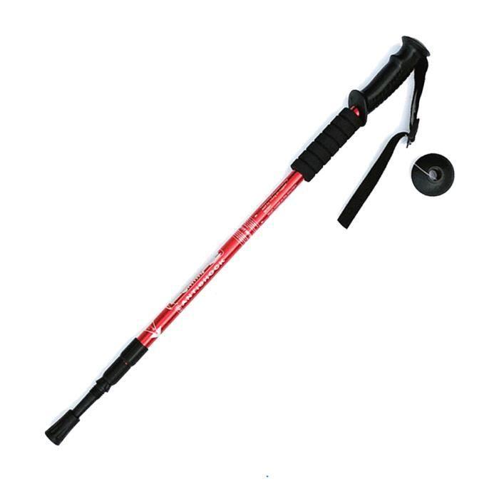Bâton de Marche Bâton de Randonnée en Aluminium Réglables 65-135CM pour Trekking Randonnée Alpinisme Voyage Sport en Plein Air,rouge