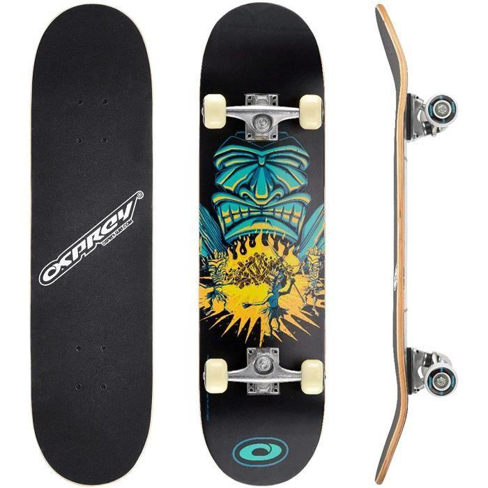Osprey Skateboard Complet idéal pour Enfants Débutants - Planche de Skate 79 cm, Érable Lamellé 7 plis Double Kick Concave, Trucks A