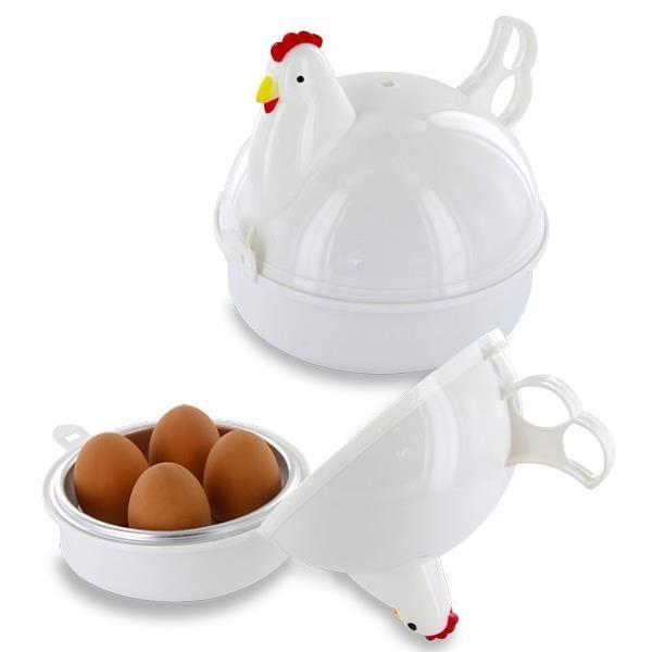 Cuit-oeufs au micro-ondes de poule Oeuf cuiseur Outil de Cuisine * Utilisation en micro-ondes * Après cuisson, laisser reposer 2