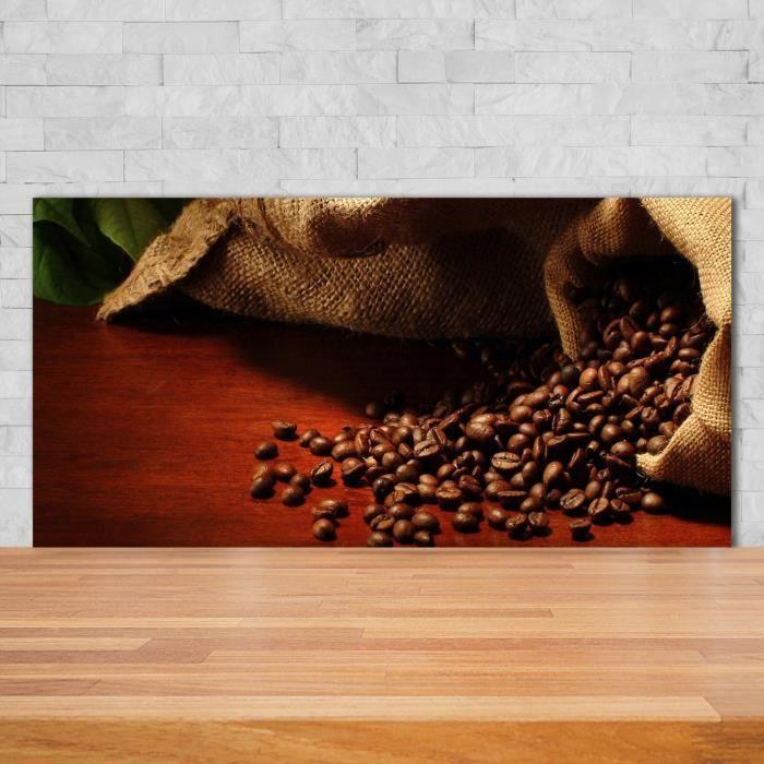Tulup 140x70cm Crédence de cuisine sur verre sécurité:- Nourriture boissons - Grains De Café - Brun Gris Mix