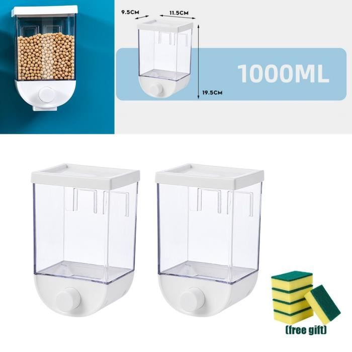 Distributeur De Grains De Noix De Récipient De Stockage De Nourriture Sèche De Bâti De Mur Clair De 2x 1000ml