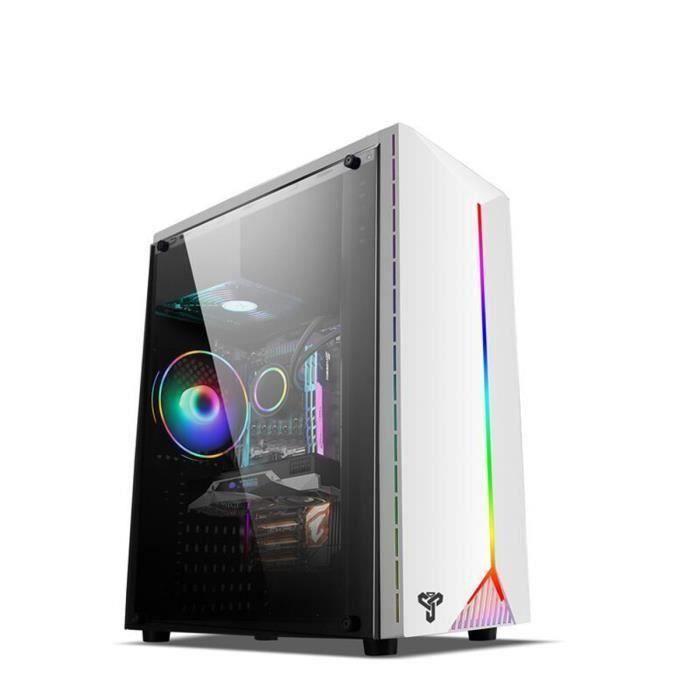 Boîtier PC Ordinateur Jeu Panneau latéral transparent Bande lumière RGB USB3.0 Support 120mm 4 ventilateur ATX micro-atx min Gr50890