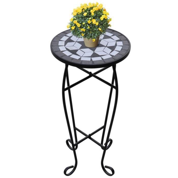 Géniale🌤Luxueux Magnifique - Table d'appoint Mosaïque - Colonne à fleurs Support de fleurs Tabouret à Fleurs Noir et blanc 1663