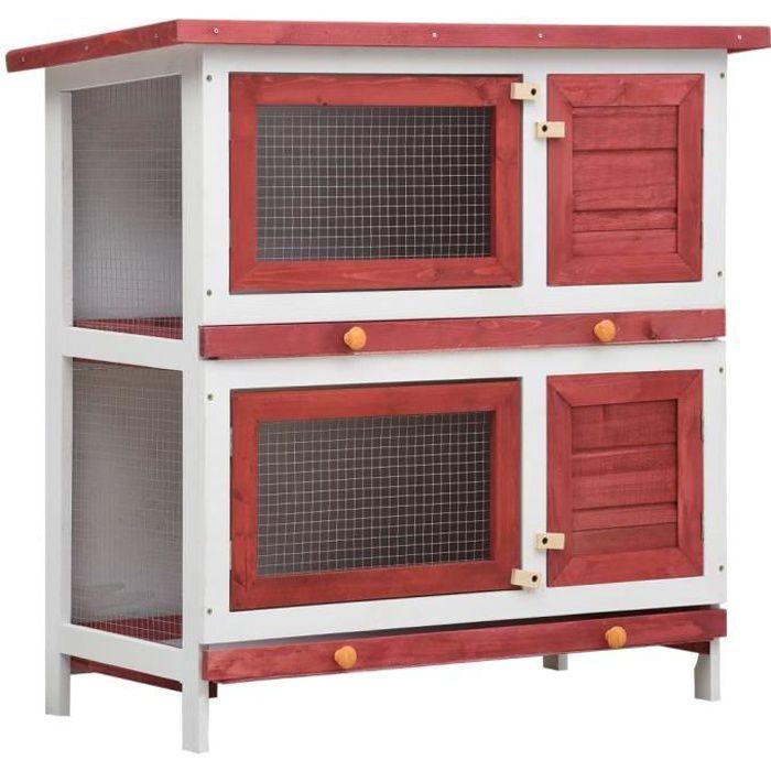 Clapier lapin extérieur Cage Clapier lapin Enclos 4 portes Rouge Bois