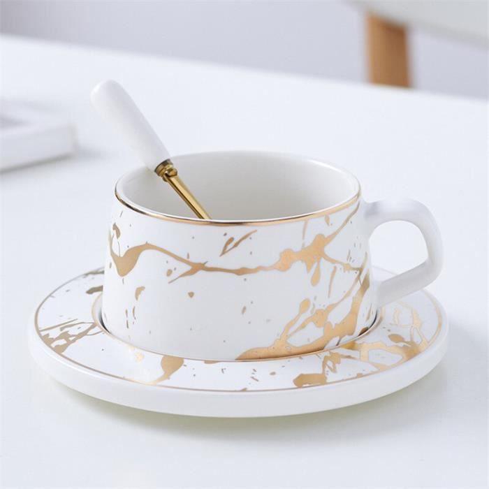 Service à café avec soucoupes,Tasse à café en marbre avec soucoupe et cuillère, ensemble créatif en porcelaine mate, - Type WHITE