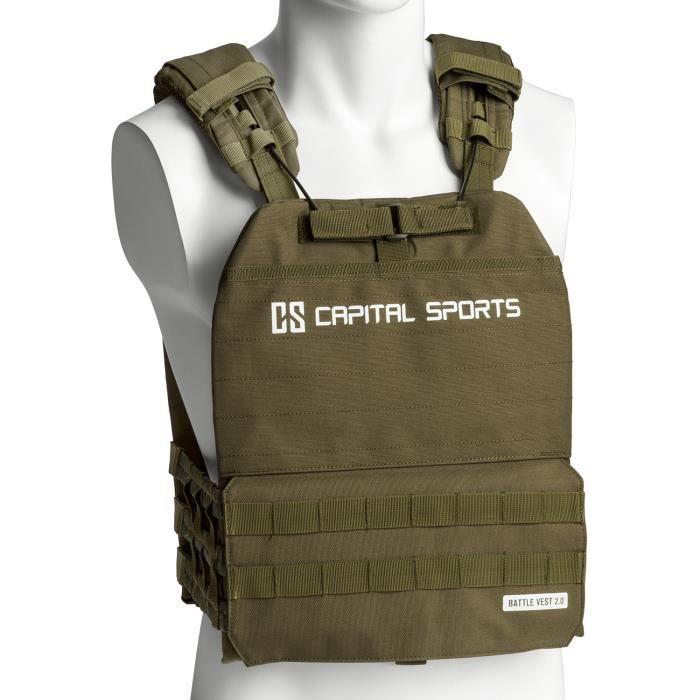CAPITAL SPORTS Battlevest 2.0 Veste lestée de poids 13 kg - 4 disques en acier -2x 2,5kg + 2x 4kg) - Verte