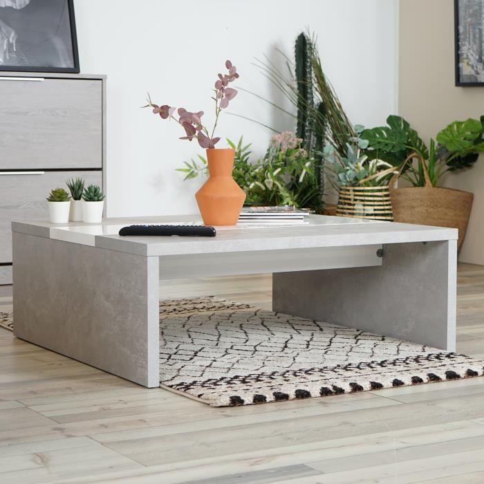 DORAFAIR Table basse carrée design industriel