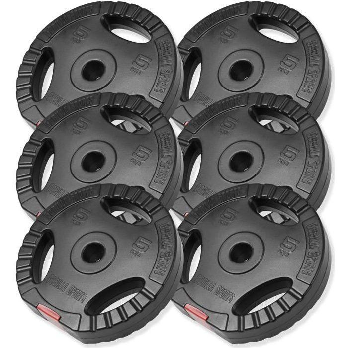 Disques de poids en plastique avec poignées - Lot de 30 KG (6 x 5 KG)