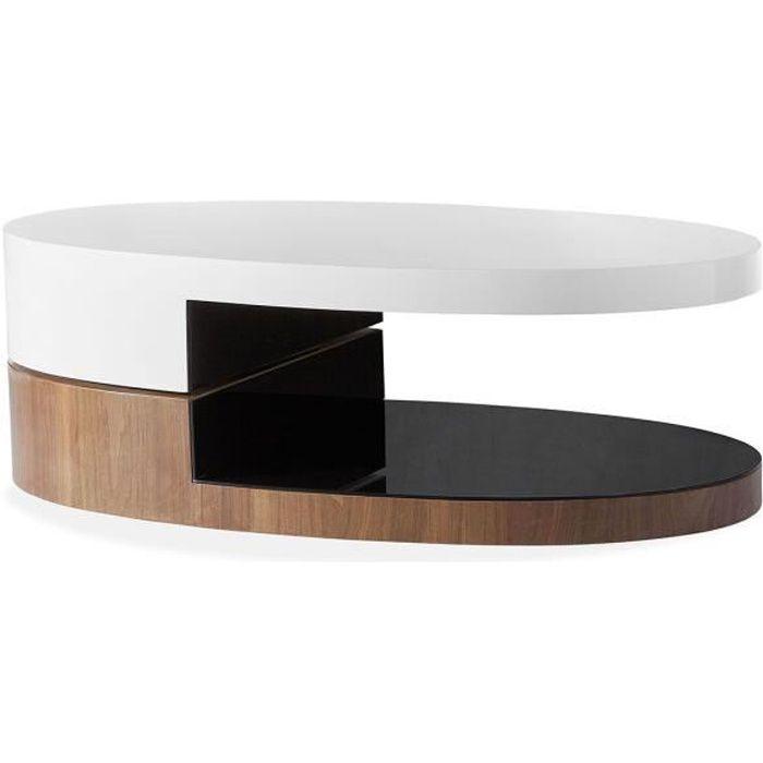 Table basse bois/laqué SIDONY - Noyer/Blanc - Bois foncé 40 Bois Foncé