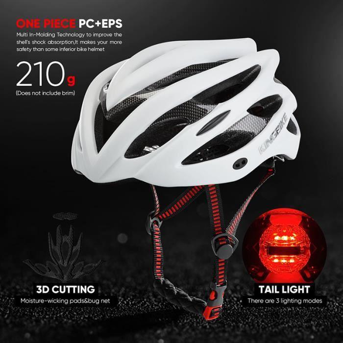 Casque de vélo Blanc-ESP Avertissement de feu arrière
