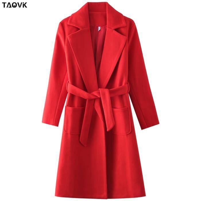 Manteau,TAOVK – manteaux à col rabattu pour femmes, vestes et manteaux mi longs à ceinture, laine et mélanges, manteau - Type Red