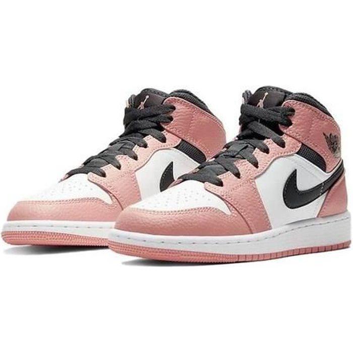 Nike Air Jordans 1 Mid Femme Jordans One Pink Quartz Chaussures de Basket Pas Cher pour Fille Femme Sneakers