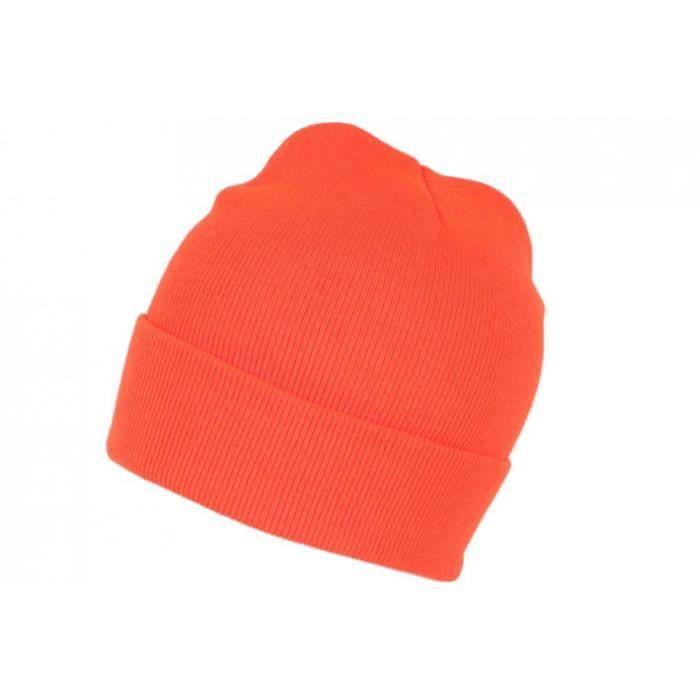 Bonnet Orange Fluo en Laine Fashion et Chaud avec Revers Eric - Taille unique - Orange