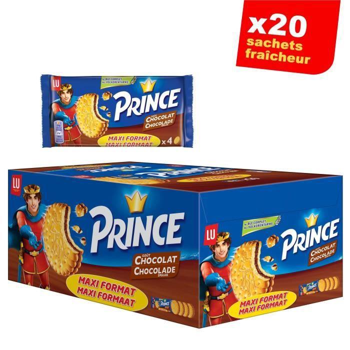 Prince de LU Chocolat - Au blé complet - Présentoir de 20 Sachets Maxi Format de 4 Biscuits x 80 g