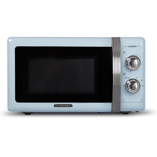 SCHNEIDER - SMW20VMBL - Micro-Ondes Vintage - Monofonction - 20 Litres - 700 Watts - Coloris Bleu