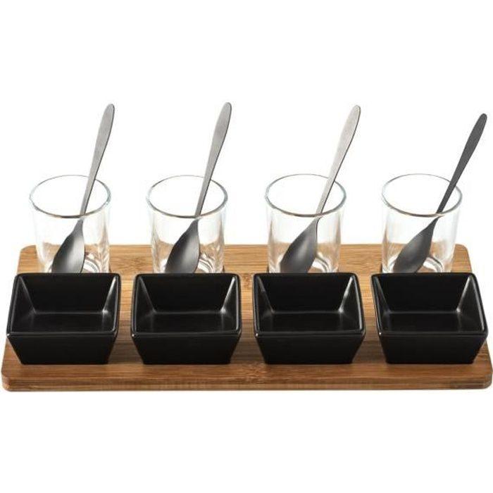 Secret de Gourmet - Service Apéritif 13 pièces Plateau en Bambou, Ramequins, Verrines et cuillères
