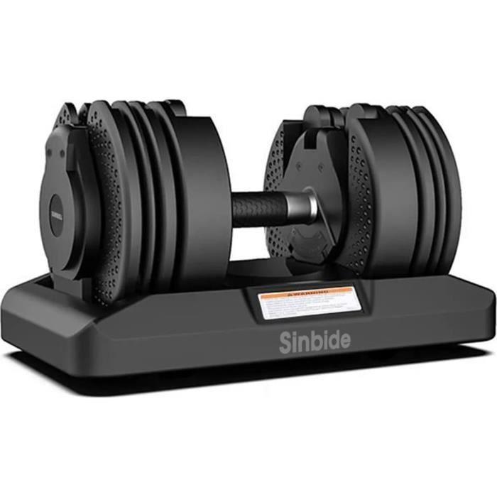 SINBIDE® 1PCS Haltère Réglable, 16 poids ajustables, 2.3 à 20kg, 5-45LBS, Verrou de sécurité