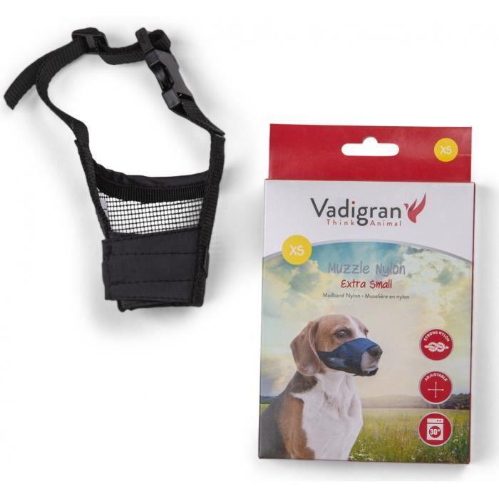 Muselière réglable en nylon, cou de 12 à 31 cm. T XS. pour chien type yorkshire-Vadigran 3,000000 Noir