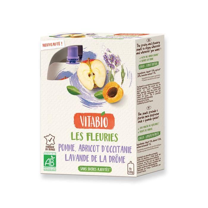 Gourde fruits et fleur pomme abricot lavande 4x120gr - Vitabio