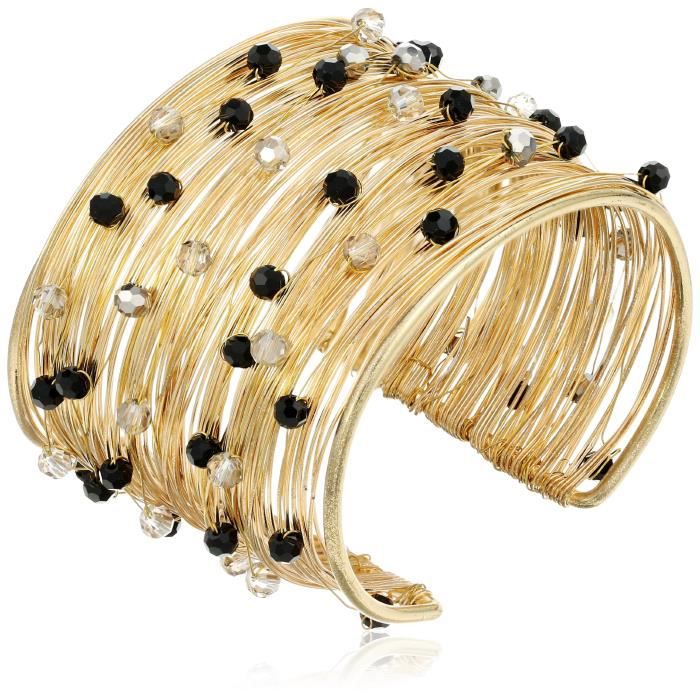 Crystal Flexible Wire Gold-tone And Crystal Cuff Bracelet, 7 W1HNF