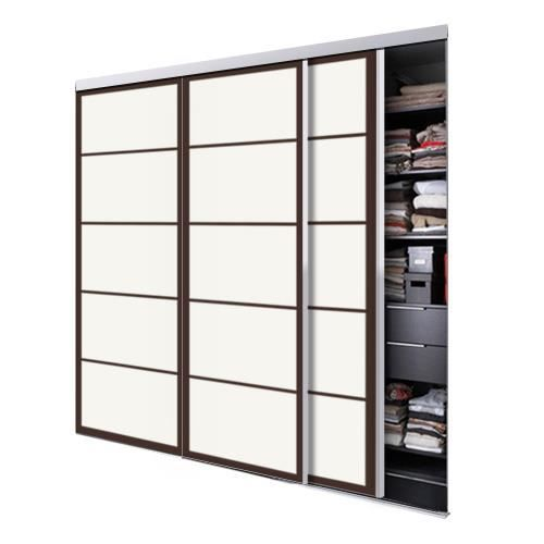 tixelia porte de placard coulissante kyoto 3 vantaux hauteur 240 cm x largeur 180 cm achat. Black Bedroom Furniture Sets. Home Design Ideas
