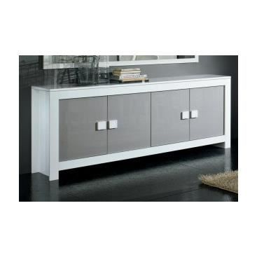 buffet laqu burafa blanc gris achat vente. Black Bedroom Furniture Sets. Home Design Ideas