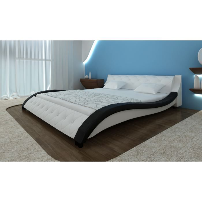 lit en cuir avec matelas 180 x 200 cm achat vente ensemble literie cdiscount. Black Bedroom Furniture Sets. Home Design Ideas