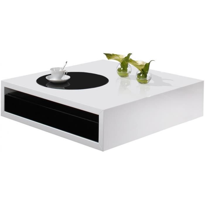 table basse design laque blanc et noir brillant 1 tiroir achat vente table basse table basse. Black Bedroom Furniture Sets. Home Design Ideas