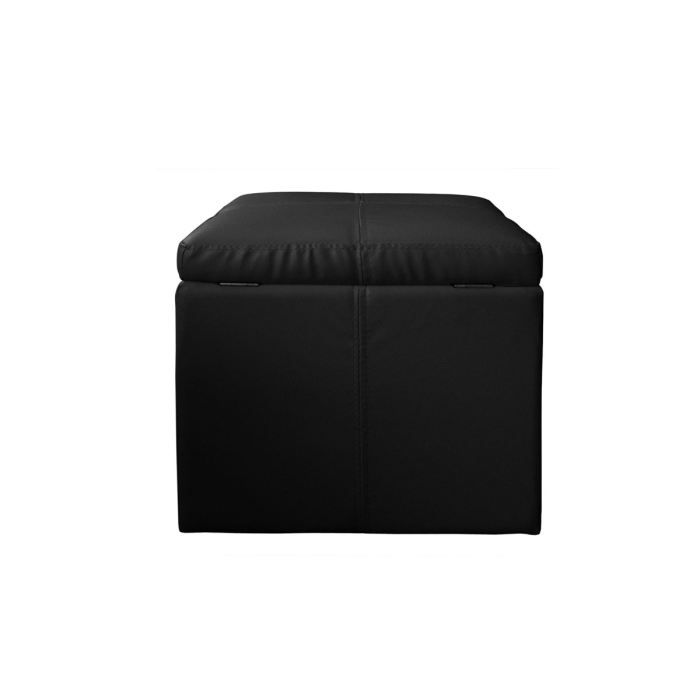 pouf en cuir noir. Black Bedroom Furniture Sets. Home Design Ideas