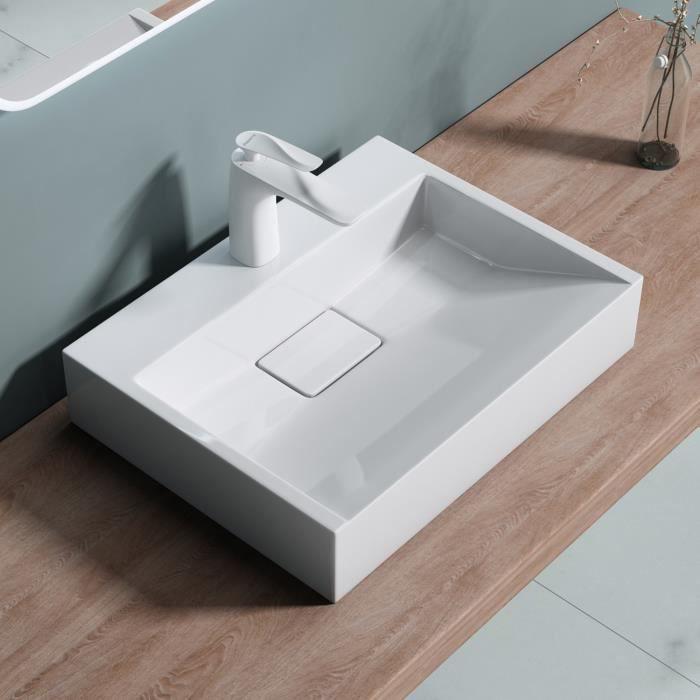 Lavabo vasque /à poser fonte min/érale /évier Colossum 16 blanc Larg 70 cm prof 43 cm haut 12 cm rectangulaire