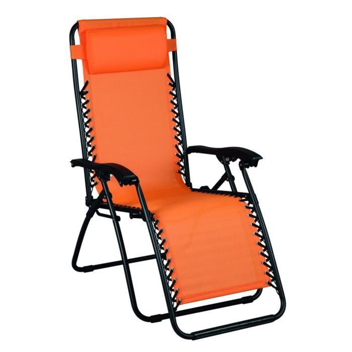 fauteuil de relaxation multiposition orange achat vente fauteuil acier pvc cdiscount. Black Bedroom Furniture Sets. Home Design Ideas