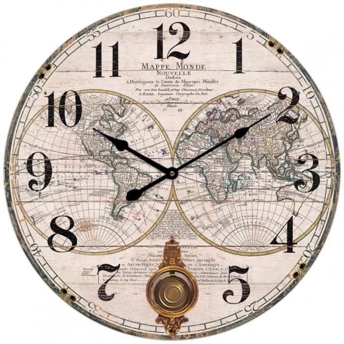 Horloge Murale Ronde Carte Monde Mappemonde Mappe Continent Chiffres Chambre Appartement