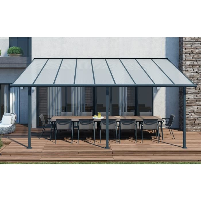 toit de terrasse 3x5 46m gris anthracite achat vente pergola toit de terrasse 3x5m gris. Black Bedroom Furniture Sets. Home Design Ideas