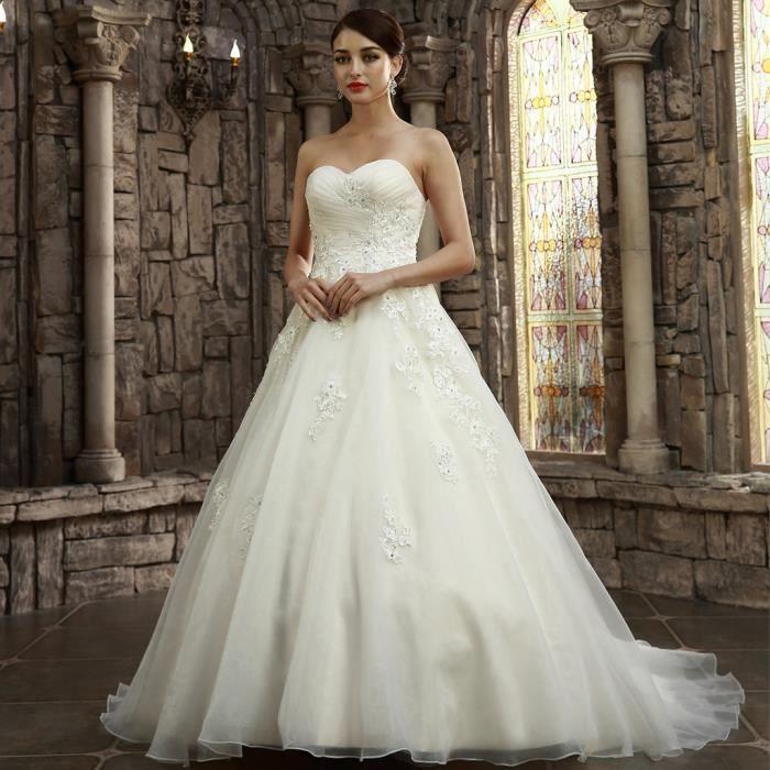 Robe de mariée bustier/avec manche longue