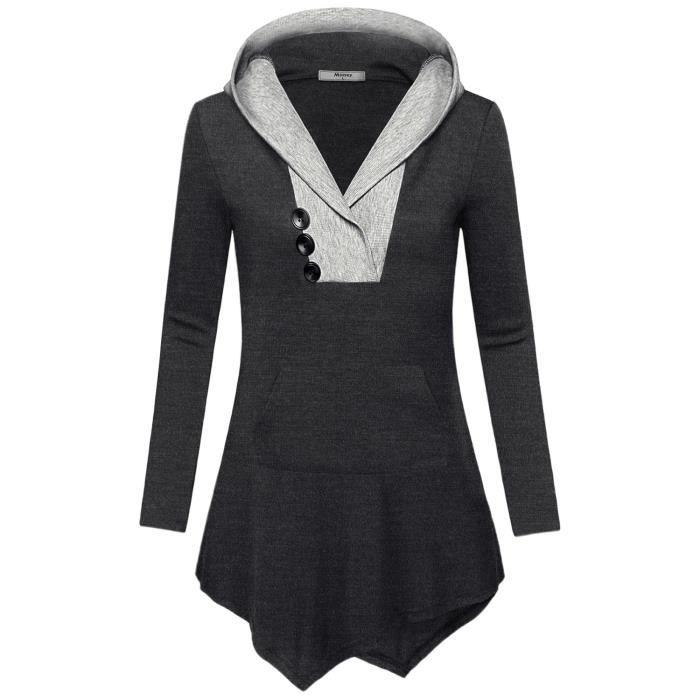 KANGAROOS Sweat Pull Shirt Femme Avec Col Châle Col Gris 343