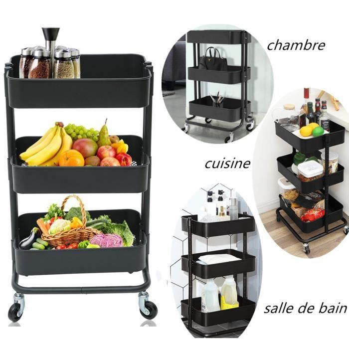 FURNITURE-R France Chariot de Service Desserte Pliant Rack de Stockage Polyvalent Chariot de Rangement /à roulettes Desserte /à roulettes 3 Tablettes