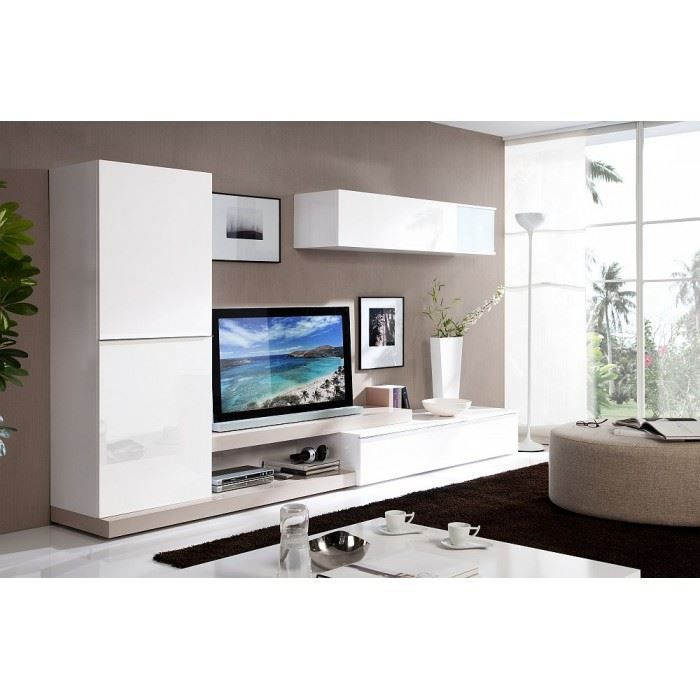 meuble tv laqu design lorencio couleur blanc m achat. Black Bedroom Furniture Sets. Home Design Ideas