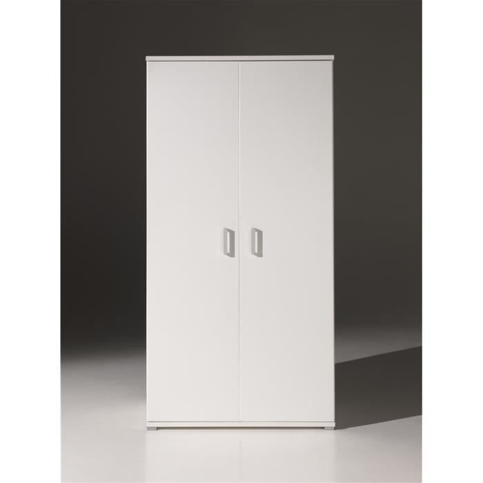 milan armoire 2 portes blanche achat vente armoire de chambre milan armoire 2 portes. Black Bedroom Furniture Sets. Home Design Ideas