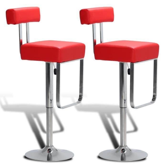 2 tabourets de bar rouges pivotant et ajustables avec dossier achat vente tabouret de bar. Black Bedroom Furniture Sets. Home Design Ideas
