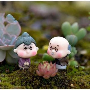 KIT DE DECORATION 2 pièces Miniature Vieille Grand-Mère Grand-Père N