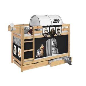 LITS SUPERPOSÉS Lits superposés JELLE Star Wars noir - avec rideau