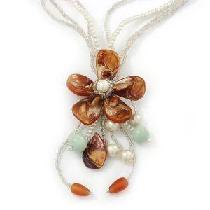 SAUTOIR ET COLLIER Chunky Collier multirang Coque avec motif floral (