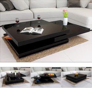 TABLE BASSE Table basse de salon noir moderne 60x60cm laquée b