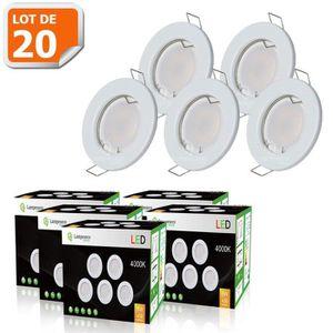 SPOTS - LIGNE DE SPOTS LOT DE 20 SPOT LED ENCASTRABLE COMPLETE RONDE FIXE