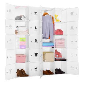ARMOIRE DE CHAMBRE Langria 20-Cube Armoires à Étagères Plastique Meub