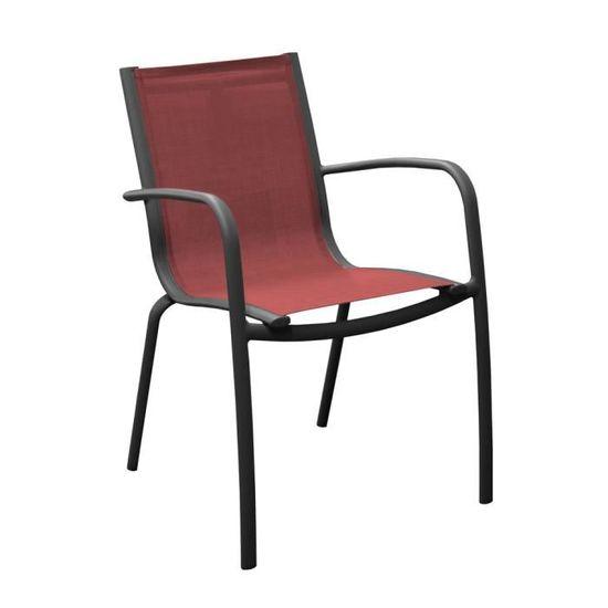 Linea Fauteuil Empilable Alu/Textilène - Grey/Rouge (Lot de ...