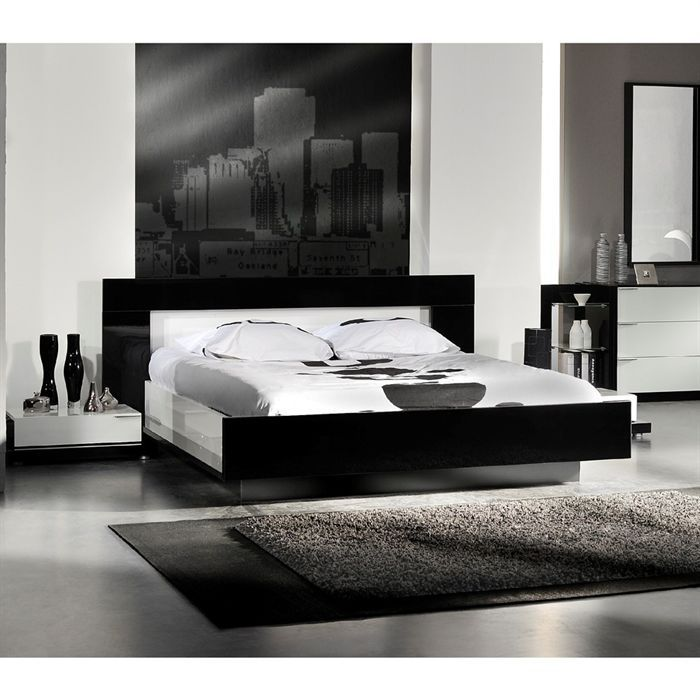 aroma lit 180x200 avec luminaires noir blanc achat vente ensemble literie cdiscount. Black Bedroom Furniture Sets. Home Design Ideas