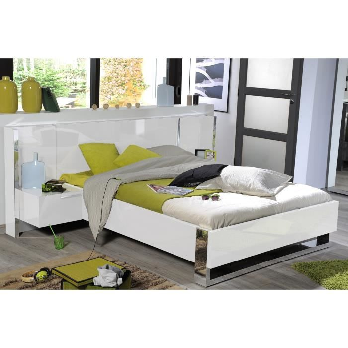Sunrise lit adulte 180x200 cm laqu blanc brillant achat vente structur - Lit 2 places blanc laque ...